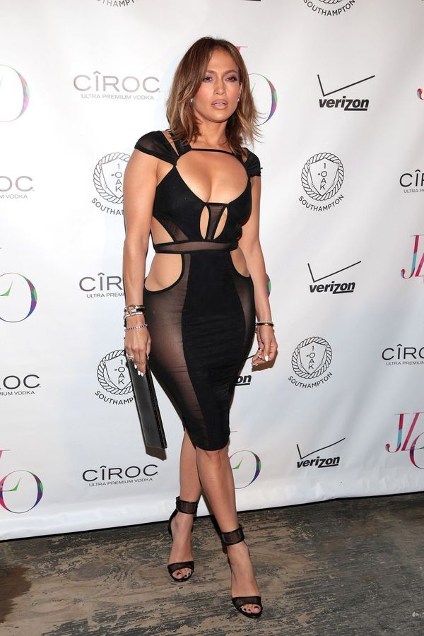 J.Lo takes cut-outs to a new level at her birthday celebration in Southampton.