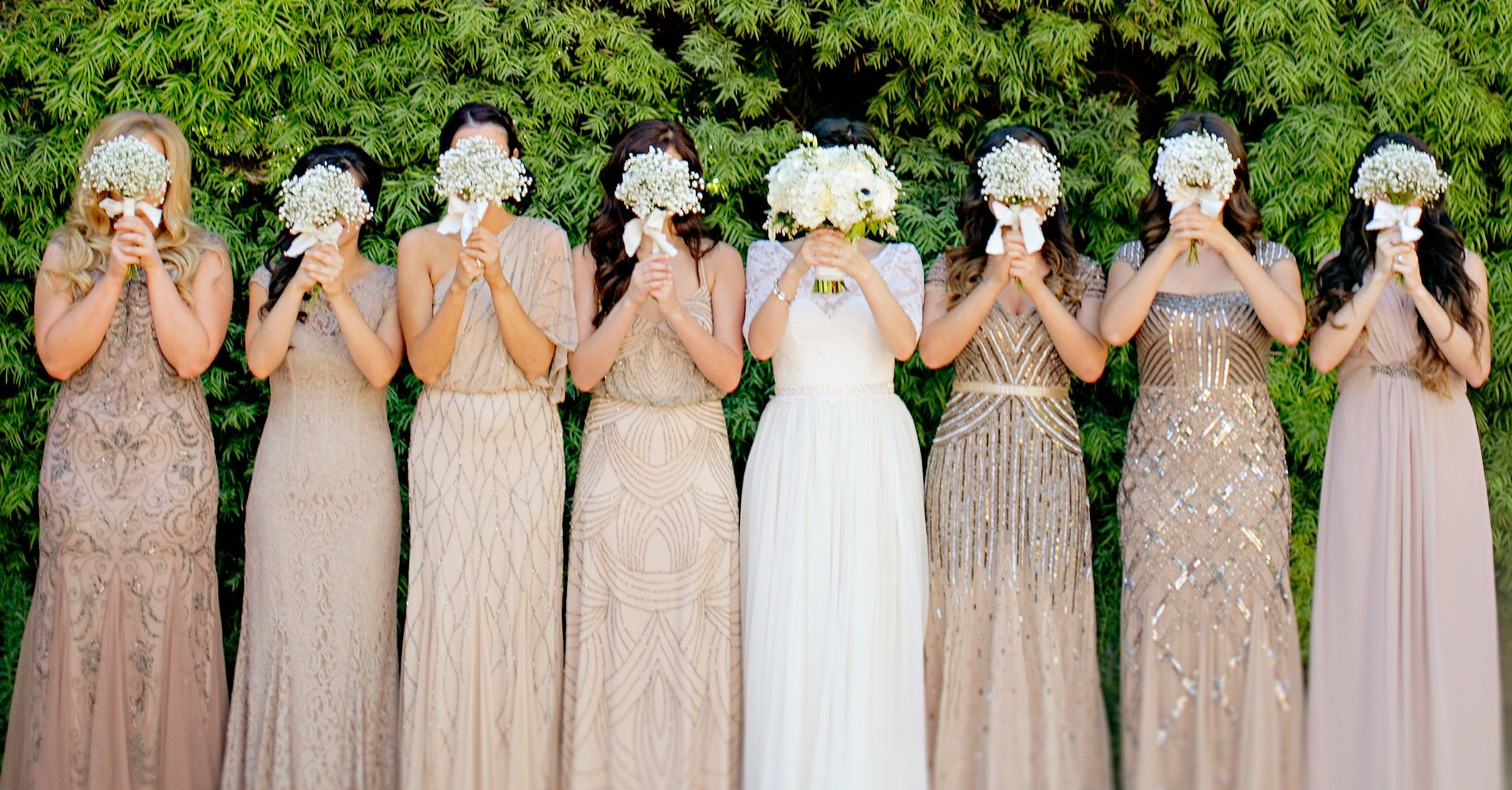 20 bridal parties who flawlessly executed the mismatched for Post wedding party dress