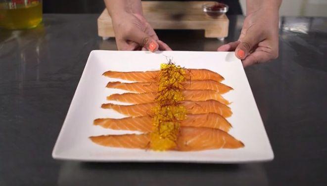 <p>Saffron pearls on smoked salmon.</p>