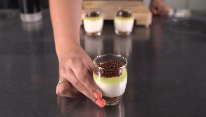 <p>Coffee liqueur beads in dessert.</p>