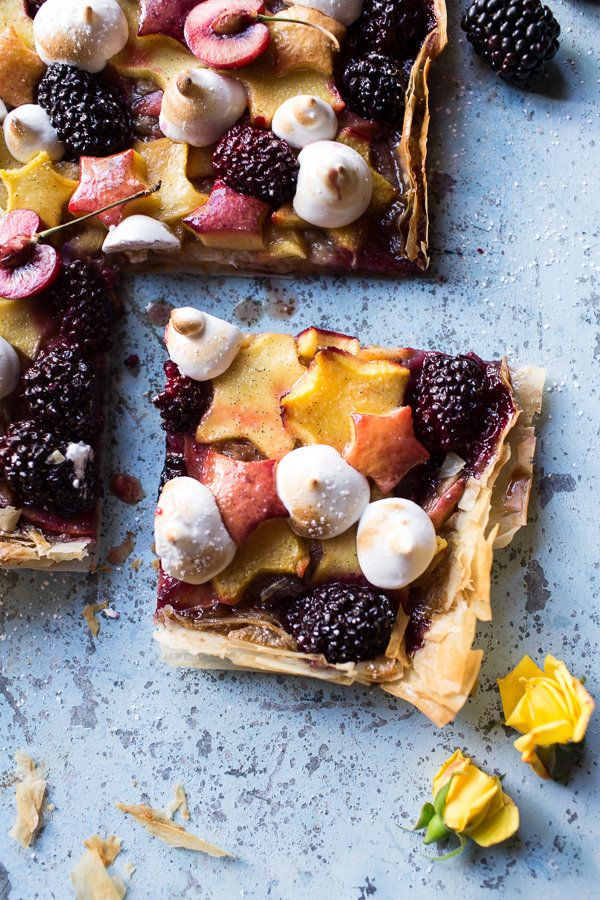 "<strong>Get the <a href=""http://www.halfbakedharvest.com/honey-butter-stone-fruit-and-blackberry-meringue-tart/"">Honey Butter"