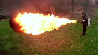 The Xmatter X15 flamethrower shoots fireballs up to 50 feet.