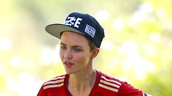 51808403 'Orange Is The New Black' actress Ruby Rose and her fiance Phoebe Dahl meet up with some friends for a pick up soccer game at Griffin Park in Los Angeles, California on July 25, 2015. Ruby is trying to get back to a normal life after finding a man in her backyard with a gun on Thursday. Ruby called the police when she spotted the man and stayed inside while she waited for police to arrive and arrest the man. FameFlynet, Inc - Beverly Hills, CA, USA - +1 (818) 307-4813