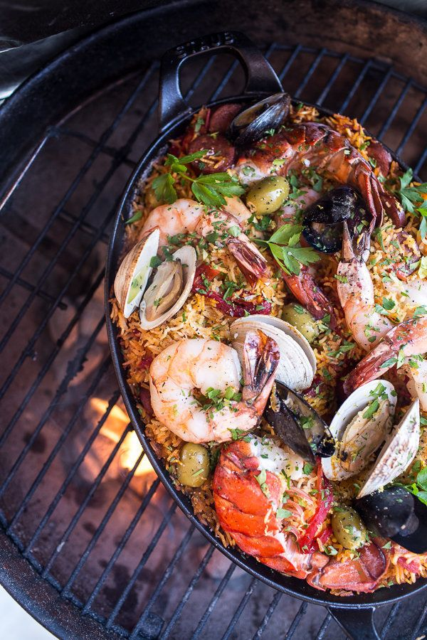 "<strong>Get the <a href=""http://www.halfbakedharvest.com/skillet-grilled-seafood-and-chorizo-paella/"">Skillet Grilled Seafood"