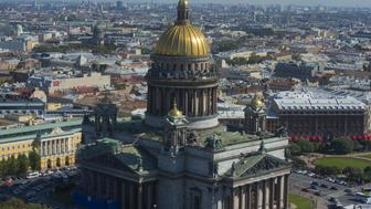 SAINT PETERSBURG - AUGUST 29:  In this handout image provided by Ria Novosti, An aerial view of St. Isaac's Cathedral ahead of the G20 summit on August 29, 2013 in St. Petersburg, Russia. The G20 summit is scheduled to run between September 5th and 6th.  (Photo by Guneev Sergey/RIA Novosti via Getty Images)
