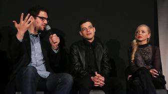 NEW YORK, NY - APRIL 26:  (L-R) Sam Esmail, Rami Malek and Portia Doubleday attend Tribeca Talks After The Movie: Mr. Robot during the 2015 Tribeca Film Festival at Chelsea Bow Tie Cinemas on April 26, 2015 in New York City.  (Photo by Rob Kim/Getty Images for the 2015 Tribeca Film Festival)