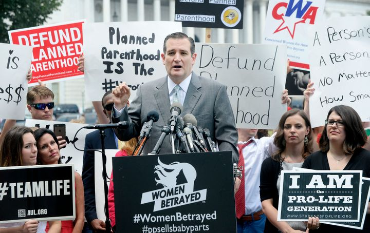 <span>Republican presidential candidate, U.S. Sen. Ted Cruz (R-TX) speaks during a Anti-abortion rally opposing federal fundi