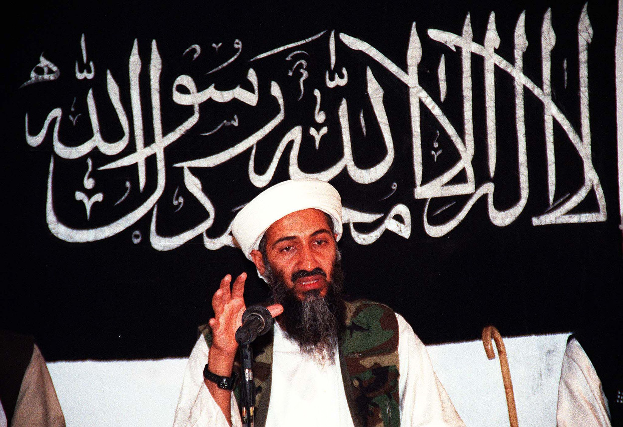 (FILES) This undated file picture shows Saudi dissident Osama bin Ladin speaking at an undisclosed place inside Afghanistan. Al-Qaeda mastermind Osama bin Laden was killed late on May 1, 2011 in a firefight with covert US forces deep inside Pakistan, prompting President Barack Obama to declare 'justice has been done' a decade after the September 11 attacks.   AFP PHOTO / FILES (Photo credit should read STR/AFP/Getty Images)