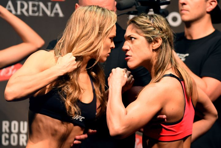 Ronda Rousey and Bethe Correia face off during the UFC 190 weigh-in inside HSBC Arena on July 31, 2015 in Rio de Janeiro, Bra