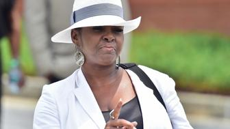 ALPHARETTA, GA - AUGUST 01:  Leolah Brown, aunt of Bobbi Kristina, addresses the press outside the funeral of Bobbi Kristina Brown at the St. James United Methodist Church on August 1, 2015 in Alpharetta, Georgia. Brown, the daughter musician Bobby Brown and the late Whitney Houston, was reportedly found unconscious in her bathtub on January 31, 2015 and passed away on July 26, 2015 at the age of 22 after an extended hospital stay. Leolah Brown, Bobbi Kristina Brown's aunt, was reportedly removed from the memorial service after interrupting Pat Houston, who was walking to the podium to speak.  (Photo by Prince Williams/WireImage)