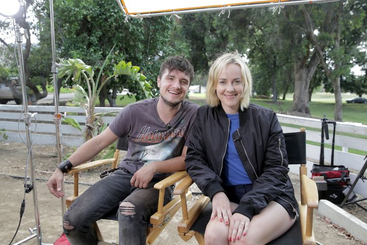 "Josh Hutcherson and Jena Malone on set of ""The Rusted."""