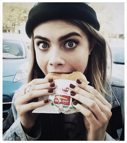 """Cara <a href=""""http://beautyhigh.com/cara-delevingne-fast-food-prep-for-victorias-secret-fashion-show-latex-outfit/"""">told Beau"""