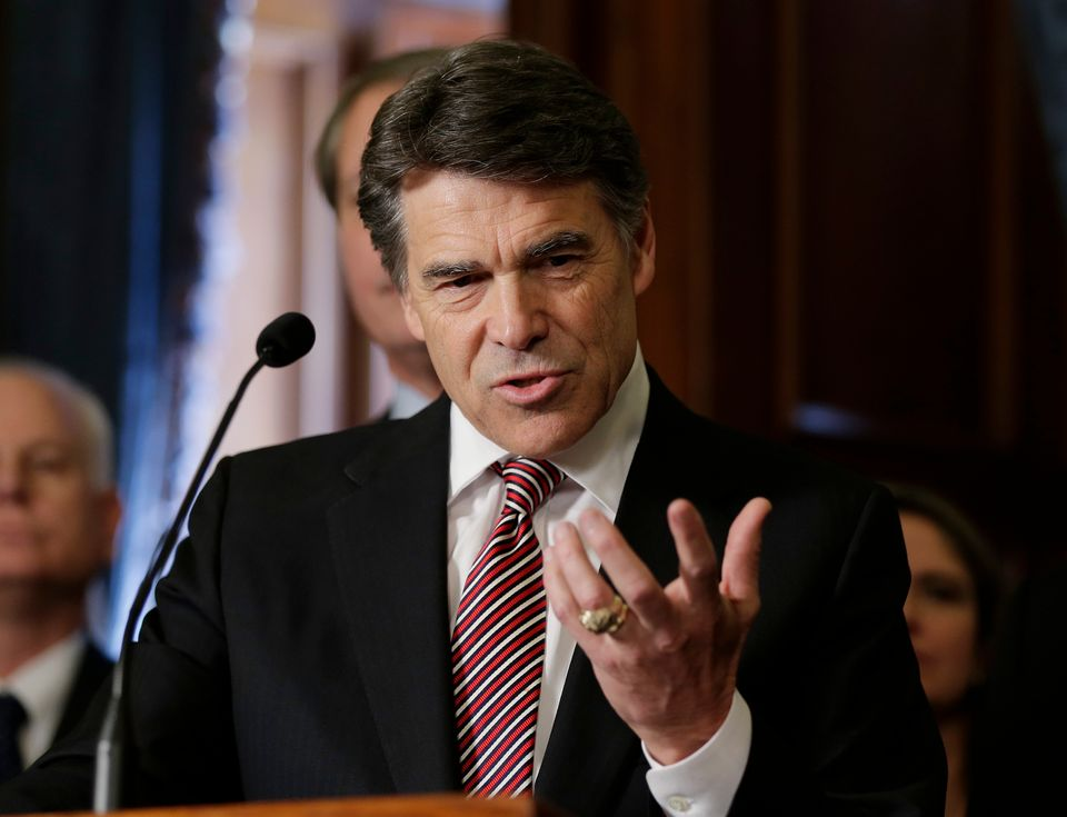 FILE - In this May 28, 2013 file photo, Gov. Rick Perry speaks during a ceremonial signing of a water fund bill, in Austin, T