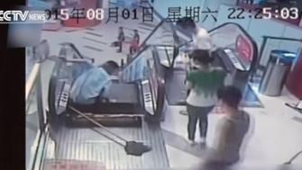 Man loses leg in escalator accident.