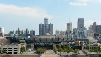 DETROIT, MI - SEPTEMBER 05:  A general exterior view of Comerica Park and the downtown Detroit skyline prior to the game between the Detroit Tigers and the San Francisco Giants at Comerica Park on September 5, 2014 in Detroit, Michigan. The Giants defeated the Tigers 8-2.  (Photo by Mark Cunningham/MLB Photos via Getty Images)