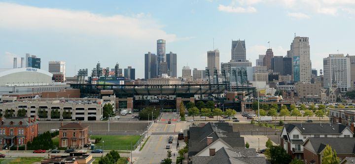 Detroit, seen here with baseball stadiumComerica Park in the foreground, was rated the least attractive American city i