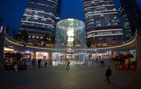 """This store, which opened in 2010, features the now-iconic glass cylindrical structure for which Apple<a href=""""http://ap"""