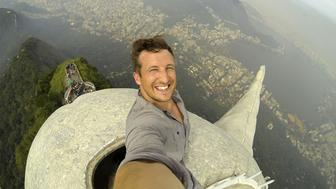 Lee Thompson's selfie on the top of Christ the Redeemer in Rio De Janeiro.