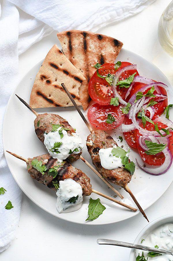 "<strong>Get the <a href=""http://www.foodiecrush.com/2015/05/grilled-turkey-kofta-skewers-with-yogurt-sauce/"">Grilled Turkey K"