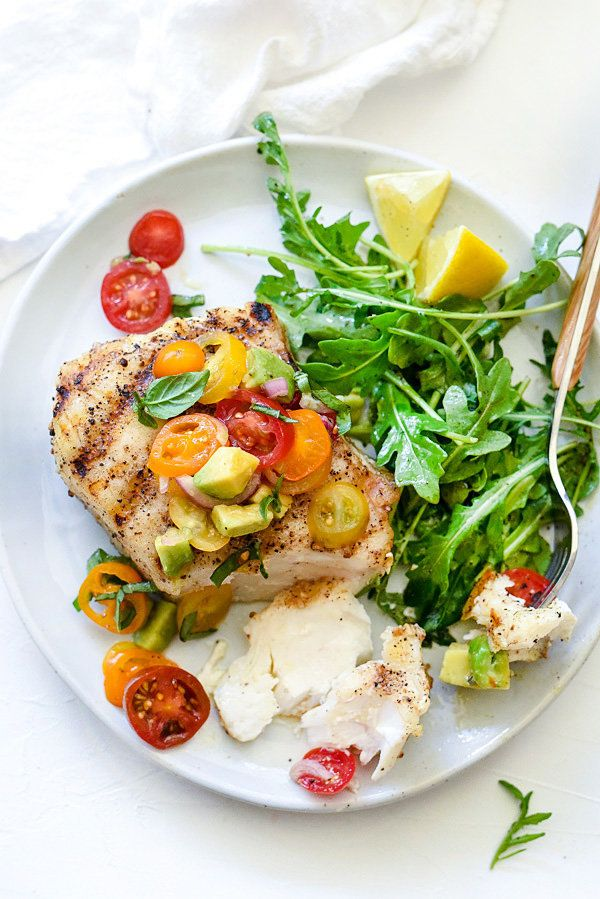 """<strong>Get the <a href=""""http://www.foodiecrush.com/2015/06/grilled-halibut-with-tomato-avocado-salsa/"""">Grilled Halibut with"""