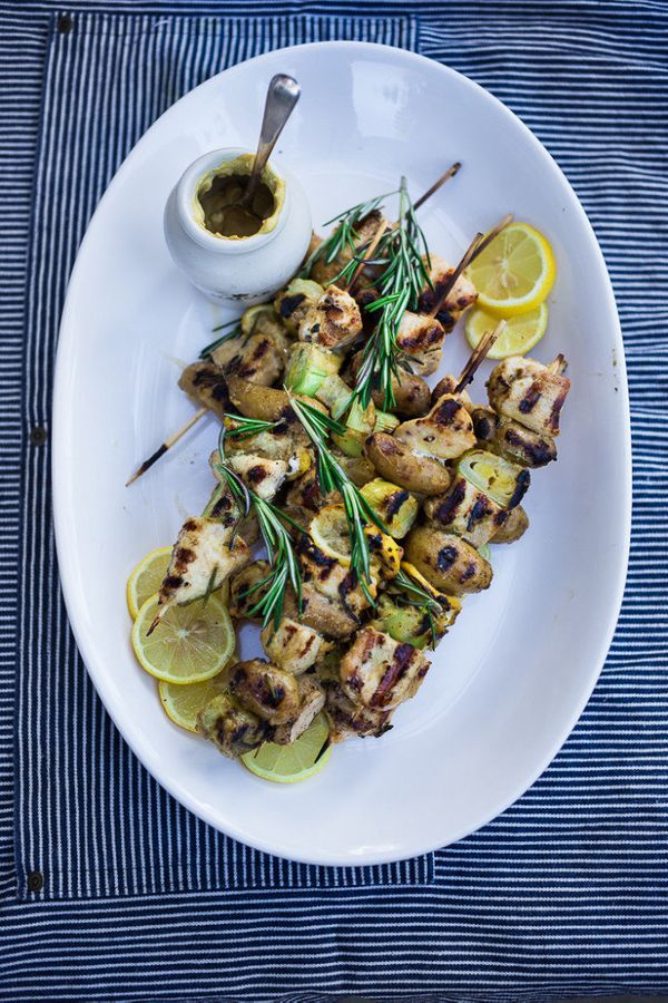 """<strong>Get the <a href=""""http://www.feastingathome.com/grilled-chicken-skewers-with-leeks/"""">Dijon-Glazed Chicken And Leek Ske"""
