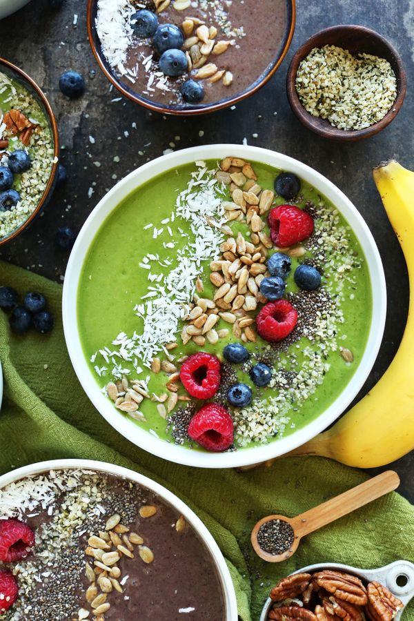 """<strong>Get the<a href=""""http://minimalistbaker.com/super-green-smoothie-bowl/"""">Super Green Smoothie Bowl recipe</a>&nbs"""