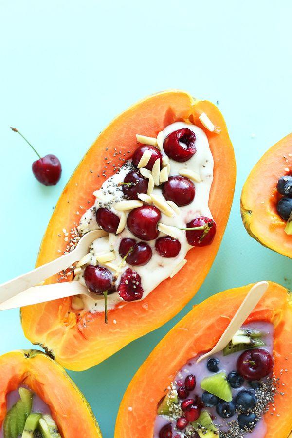 "<strong>Get the<a href=""http://minimalistbaker.com/tropical-papaya-boats/"">Papaya Breakfast Boat recipe</a>from M"