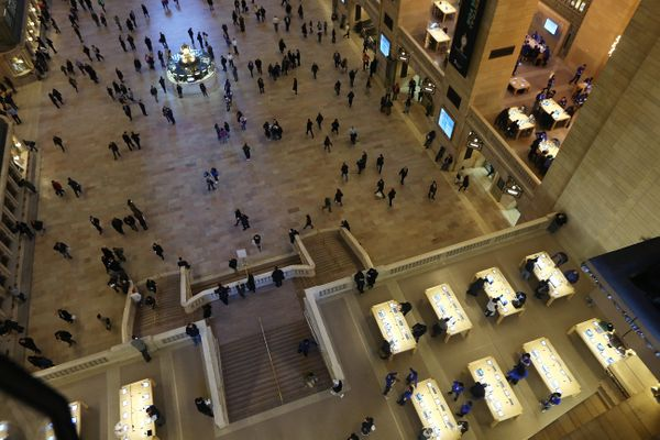 The Apple Store inside Grand Central opened in 2011. It is situatedonthe terminal's east and northeast balconies,