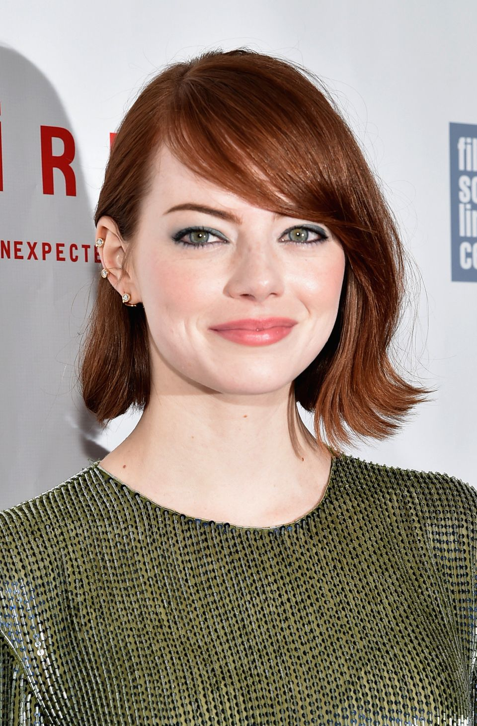 "<strong>Emma Stone</strong>""Whether you have thin or thick hair, side-swept bangs can easily be styled and blow-dried off to"
