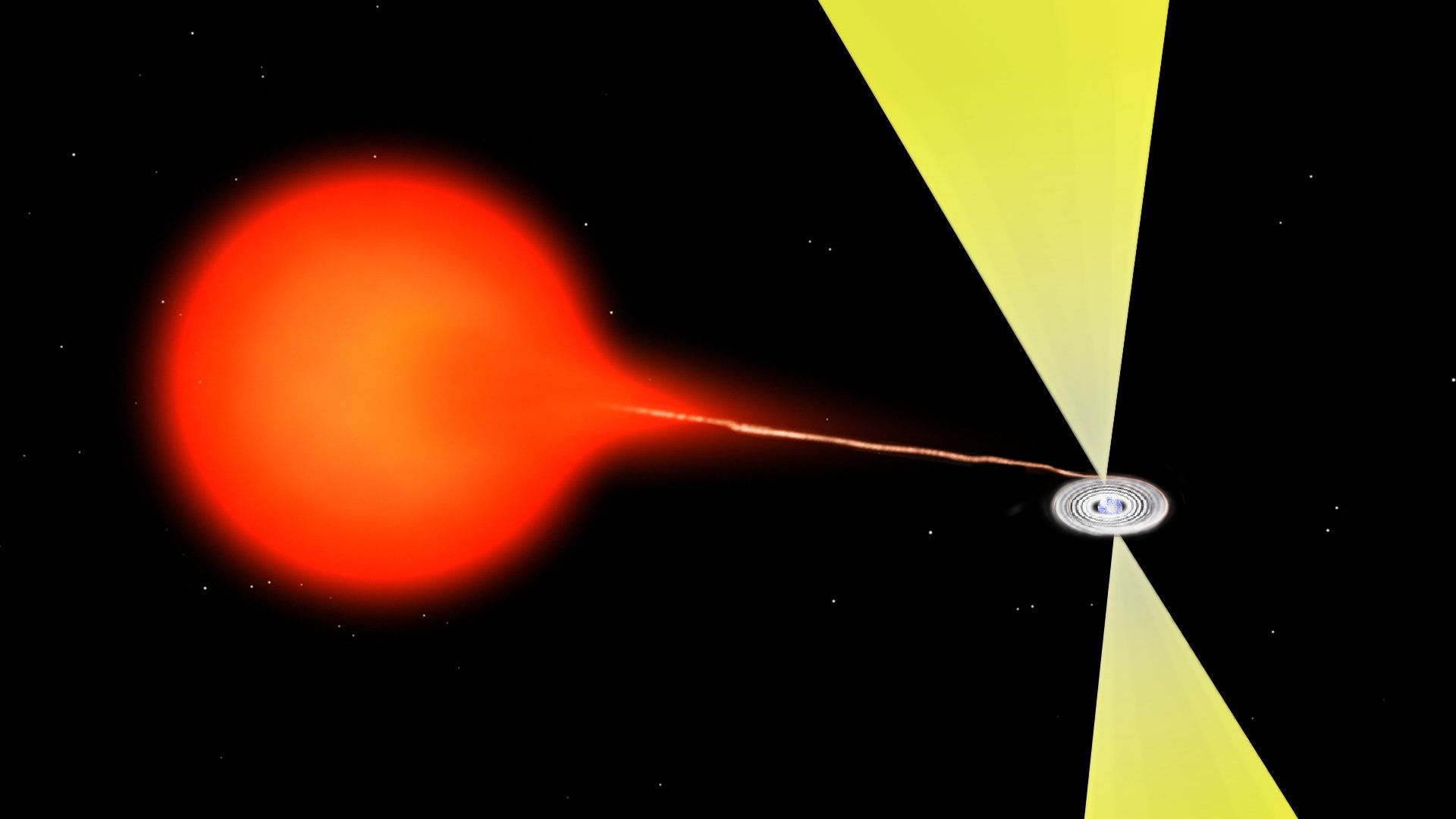 <p>Artist's impression of material flowing from a companion star onto a neutron star. The material forms an accretion disk around the neutron star and produces a superfast jet of ejected material. The material closest to the neutron star is so hot that it glows in x-rays, while the jet is most prominent at radio wavelengths. A similar mechanism is at work with black holes.</p>