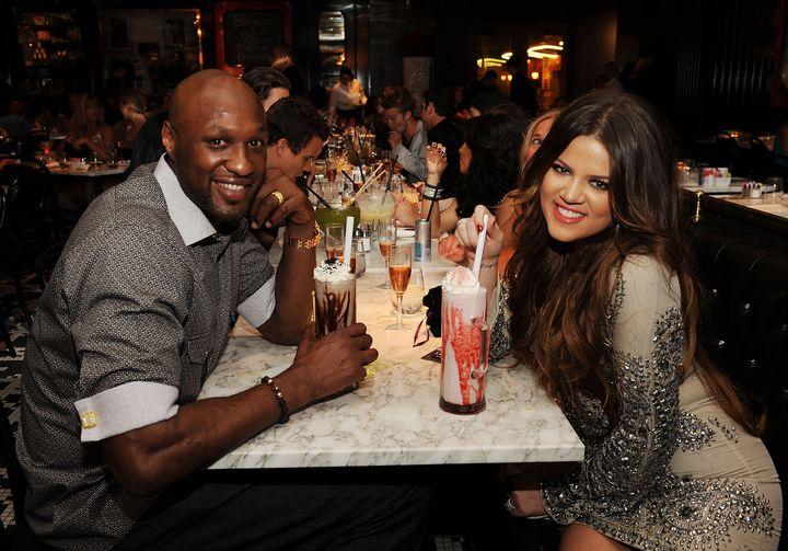 <p>Khloe and Lamar celebrating her birthday at Sugar Factory American Brasserie in Las Vegas in 2011.&nbsp;</p>