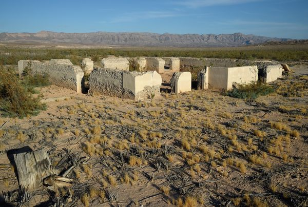 Ruins of a structure are shown in the ghost town of St. Thomas on August 3, 2015 in the Lake Mead National Recreation Area, N