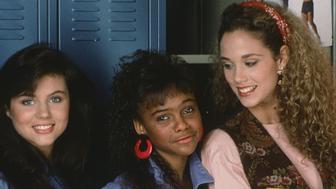 SAVED BY THE BELL -- Season 1 -- Pictured: (l-r) Tiffani Thiessen as Kelly Kapowski, Lark Voorhies as Lisa Turtle, Elizabeth Berkley as Jessie Spano -- Photo by: Alice S. Hall/NBCU Photo Bank