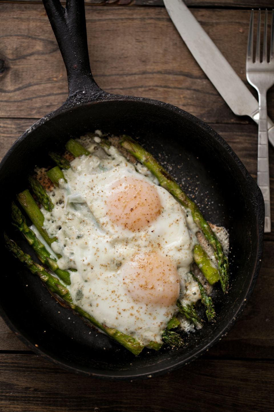 "<strong>Get the <a href=""http://naturallyella.com/2013/05/03/asparagus-and-eggs/"">Asparagus And Eggs recipe</a> from Nat"