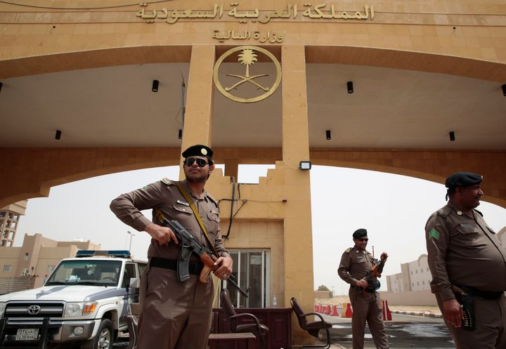 Members of the Saudi Arabia Border Police stand guard at the border crossing of the Saudi Arabia-Yemen border near the town o