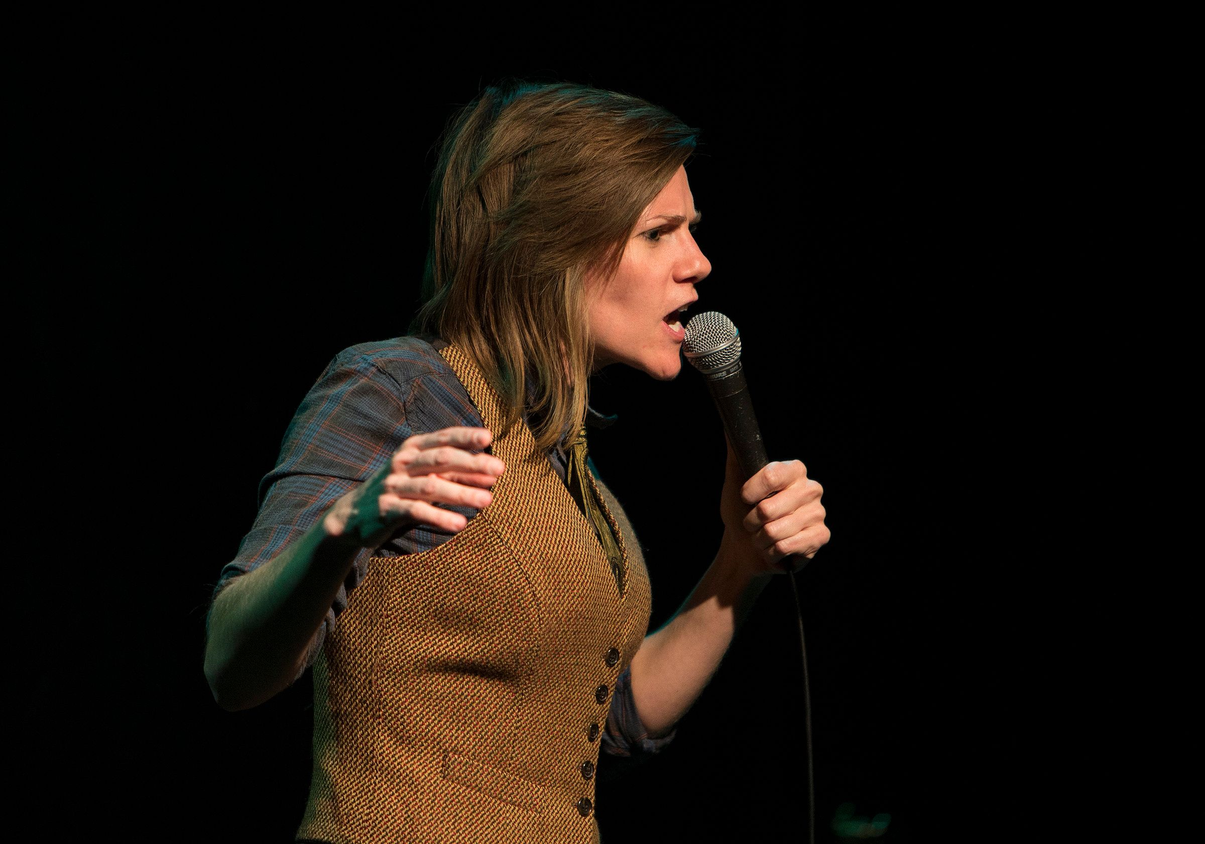 LOS ANGELES, CA - OCTOBER 7, 2014: Chicago stand-up comic Cameron Esposito  performs in a small intimate setting at the Upright Citizens Brigade Theater on October 7, 2014 in Los Angeles, California. Cameron moved to Los Angeles a couple of years ago.  (Photo by Gina Ferazzi/Los Angeles Times via Getty Images)