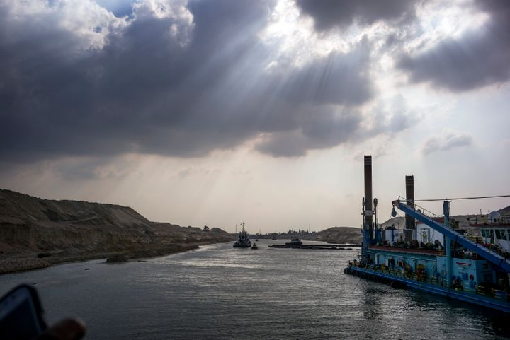 <span>Construction takes place along the edge of the New Suez Canal in Ismailia, Egypt, on June 13, 2015.</span>