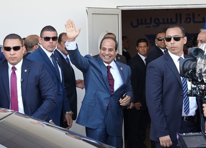 Egyptian President Abdel Fattah al-Sisi arrives for the opening ceremony of the New Suez Canal in Ismailia, Egypt, on Aug. 6,