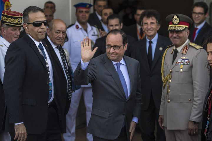 <span>French President Francois Hollande arrives for the opening ceremony of the New Suez Canal in Ismailia, Egypt, on Aug. 6