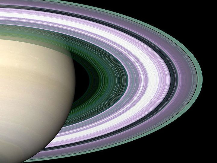 <span>In this simulated image of Saturn's rings, color is used to present information about ring particle sizes in different