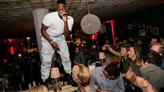 CHICAGO, IL - JULY 31:  An impromtu performance by Zebra Katz @ Soho House Chicago with BACARDI on July 31, 2015 in Chicago, Illinois.  (Photo by Jeff Schear/Getty Images for Soho House Chicago)