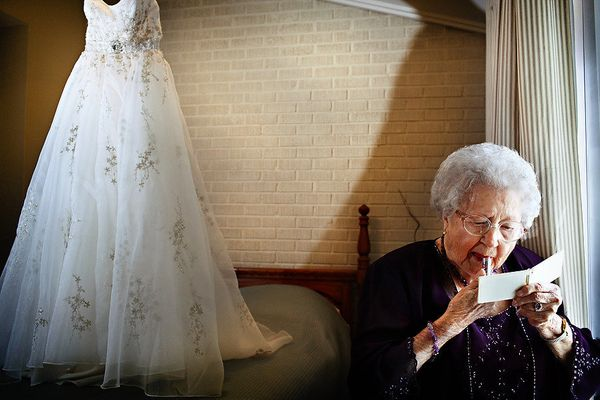 """""""A few years ago at a family wedding, my dear grandmother (Cora Lee Adcock) casually walked in front of her great-granddaught"""