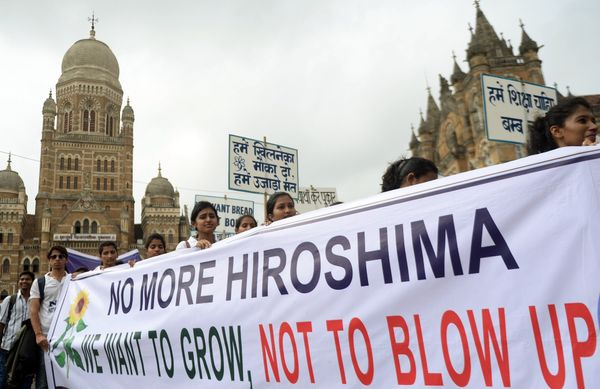 Indian students take part in a rally to mark Hiroshima Day in Mumbai, India, on Aug. 6, 2015.