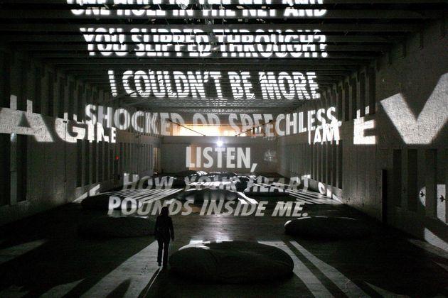 """""""Projection,"""" a light poem by the artist Jenny Holzer."""