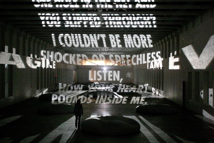 """Projection,"" a light poem by the artist Jenny Holzer."