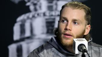 Chicago Blackhawks right wing Patrick Kane answers a question during media day for the NHL hockey's Stanley Cup finals Tuesday, June 2, 2015, in Tampa, Fla. The Blackhawks take on the Tampa Bay Lightning in Game 1 on Wednesday. (AP Photo/Chris O'Meara)