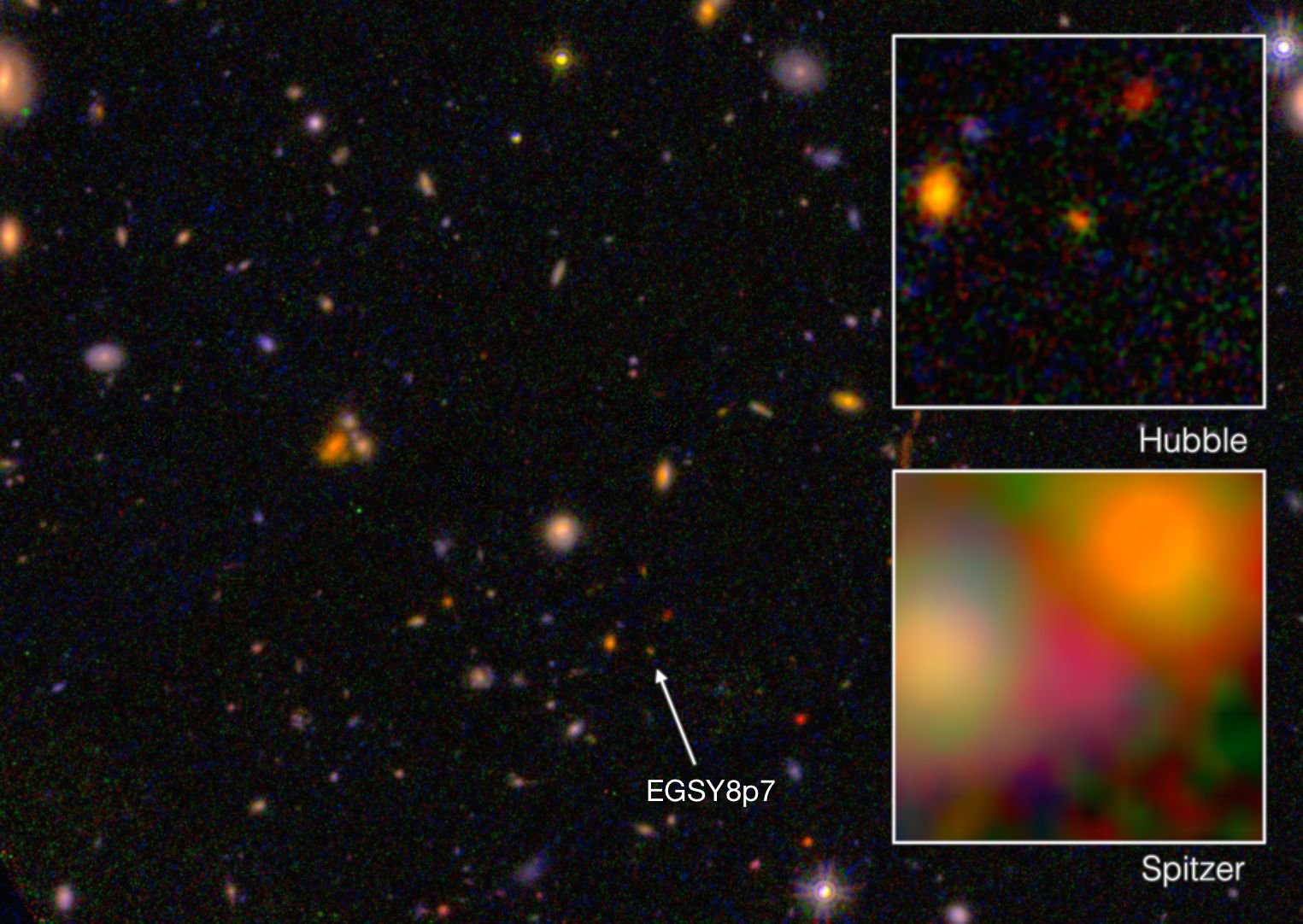 """<p><span style=""""font-family: Arial, Helvetica, sans-serif; font-size: 14px; line-height: 20px; background-color: #eeeeee;"""">Acolor composite image of the galaxy EGS8p7 from data taken with the Hubble and Spitzer Space Telescopes.</span></p>"""