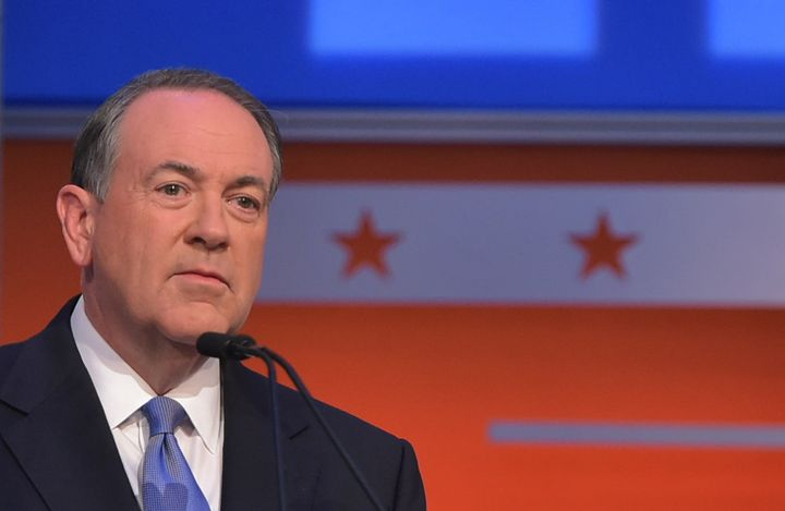 Former ArkansasGov. Mike Huckabeeat his podium on Thursday at the Republican debate in Cleveland, Ohio.