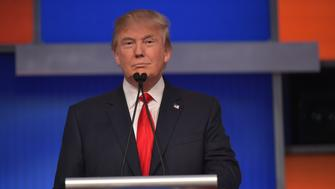 Real estate tycoon Donald Trump participates in the first Republican presidential primary debate on August 6, 2015 at the Quicken Loans Arena in Cleveland, Ohio. AFP PHOTO / MANDEL NGAN        (Photo credit should read MANDEL NGAN/AFP/Getty Images)