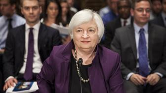 WASHINGTON, USA - JULY 16: Federal Reserve Chair Janet Yellen takes her seat before testifying in front of the Senate Banking, Housing, and Urban Affairs Committee during a hearing on The Semiannual Monetary Policy Report to the Congress. in Washington, USA on JULY 16, 2015. (Photo by Samuel Corum/Anadolu Agency/Getty Images)